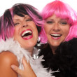 图库照片: Two Girls with Pink And Black Wigs