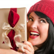 Brunette Woman Holds Holiday Gift — Stock Photo