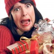 Frustrated Woman Holds Holiday Gifts — Stock Photo #2343715