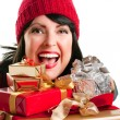 Foto Stock: Happy Woman with Pile of Gifts