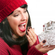 Surprised Woman Holds Holiday Gift — Stock Photo