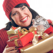 Brunette Woman Holds Holiday Gifts — Foto de Stock