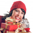 Happy Woman Holds Holiday Gifts Isolated — Stock Photo
