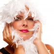 Pretty Girl with White Boa Isolated — Stock Photo #2343801