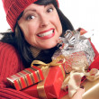 Brunette Woman Holds Holiday Gifts — Stock Photo #2343802