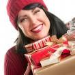 Brunette Woman Holds Holiday Gifts — Stock Photo #2343848