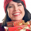 Brunette Woman Holds Holiday Gifts — Stock Photo