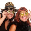 Smiling Girls with Bling-Bling glasses - Stockfoto