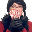 Woman on White Holding Candy Canes — Stockfoto