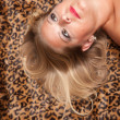 Foto Stock: Beautiful Blonde Model Poses on Leopard