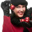 Attractive Girl Holds Christmas Ornament — Stock Photo #2344285