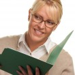 Beautiful Woman with Pencil and Folder — Stock Photo #2344510