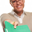 Beautiful Woman with Pencil and Folder — Stock Photo