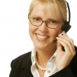 Beautiful Woman with Phone Headset — Stock Photo