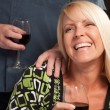 Blonde Wine Drinking WomSocializing — Stock Photo #2344825