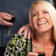 Blonde Wine Drinking Woman Socializing — Stockfoto