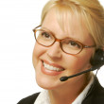 Friendly secretary/telephone rep — Stock Photo