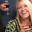 Wine Drinking Blonde Socializes at party — Stock Photo #2344870