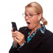 Shocked Woman on White Using Cell Phone — Stock Photo