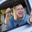 Happy Woman In New Car with Keys - Stok fotoğraf