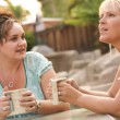 Girlfriends Enjoy A Conversation — Stock Photo