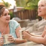 flickvänner njuta av en konversation — Stockfoto