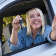 Happy Woman In New Car with Keys — Stock Photo