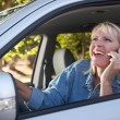 Girl on Cell Phone While Driving — Stock Photo