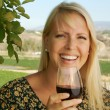 Woman Sips Wine in Country Setting — Stock Photo #2345871