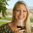 Woman Sips Wine in Country Setting — Stock Photo