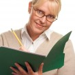 Beautiful Woman with Pencil and Folder — Stock Photo #2346278