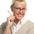 Beautiful Woman with Pencil — Stock Photo
