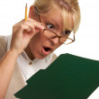Shocked Woman with Pencil and Folder — Stock Photo
