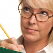 Beautiful Woman with Pencil and Folder — Foto Stock