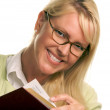 Attractive Woman with Her Stack of Books — Stock Photo
