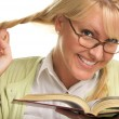 Female With Ponytails Reads Her Book — Stockfoto