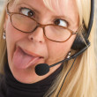 Bored Businesswoman with Phone Head — Stock Photo #2346837