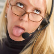 Bored Businesswoman with Phone Head — Stock Photo #2346862