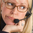 Bored Businesswoman with Phone Head — Stock Photo #2346907