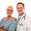 Male and Female Doctors on White — Stock Photo