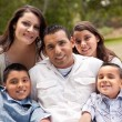 Hispanic Family Portrait In the Park - Stock Photo