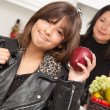 Pretty Hispanic Girl with Mom Ready for School — Stock Photo #2348129
