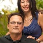 Happy Attractive Hispanic and Caucasian Couple — Stock Photo