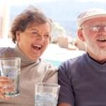 Happy Senior Adult Couple Enjoying Drink — Stock Photo #2348341