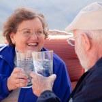 Happy Senior Adult Couple Enjoying Drink — Stock Photo