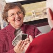 Happy Senior Adult Couple Playing Cards — Stock Photo