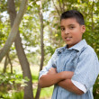 Handsome Young Hispanic Boy Having Fun — Stock Photo