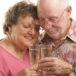 Happy Senior Couple Toasting -  