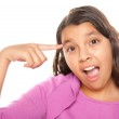 Pretty Hispanic Girl Pointing to Face — Stock Photo #2349462