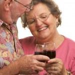 Happy Senior Couple Toasting Wine — Stock Photo